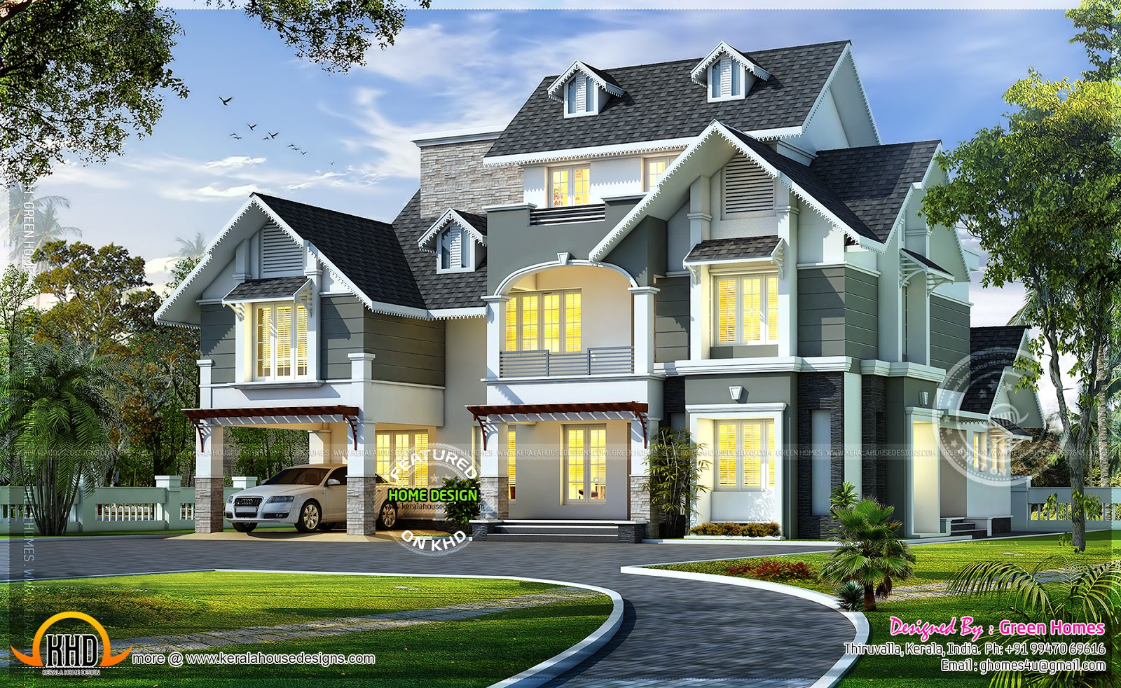 Very beautiful european model home home kerala plans for Very beautiful house