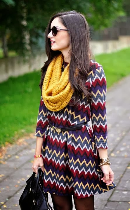 Chevron fall dress, scarf and belt fashion