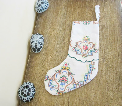image shabby chic christmas stocking upcycled vintage doilies embroidered cross stitch rustic domum vindemia
