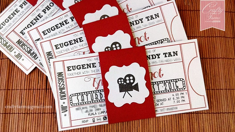 hollywood movie ticket themed wedding card with belly band - Movie Ticket Wedding Invitations