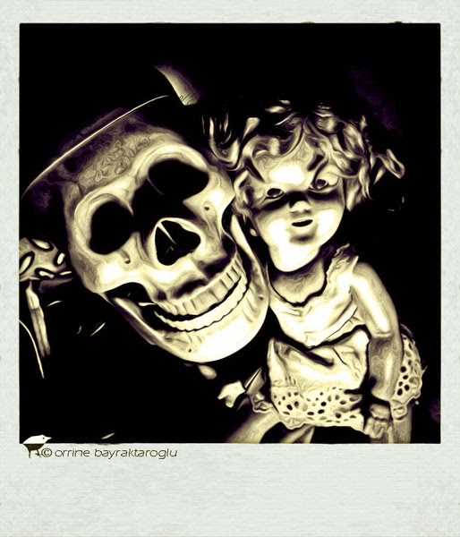creepy doll and skeleton photograph
