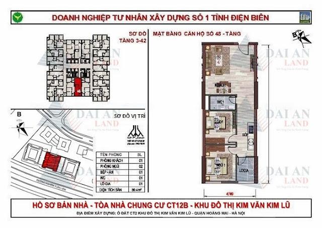 Căn 48 - Tòa CT12B Chung Cư Kim Văn Kim Lũ