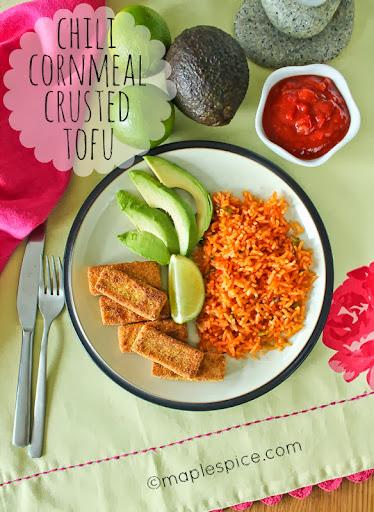 Chili Cornmeal Crusted Tofu with Mexican Rice.