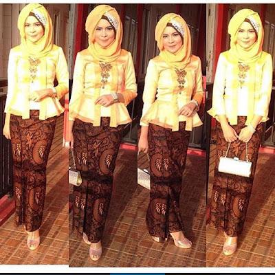 model kebaya hijab modern dengan rok batik panjang