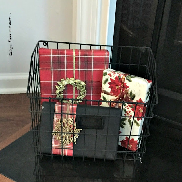 wrapped packages in a vintage wire basket