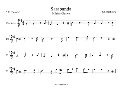 Tubepartitura Partitura de Sarabanda de Haendel para Clariente canción de Música Clásica
