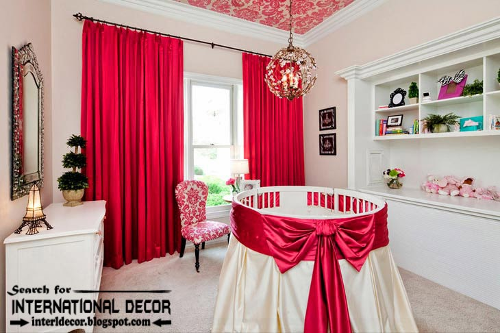 color combinations with red color in the interior, red curtains for kids
