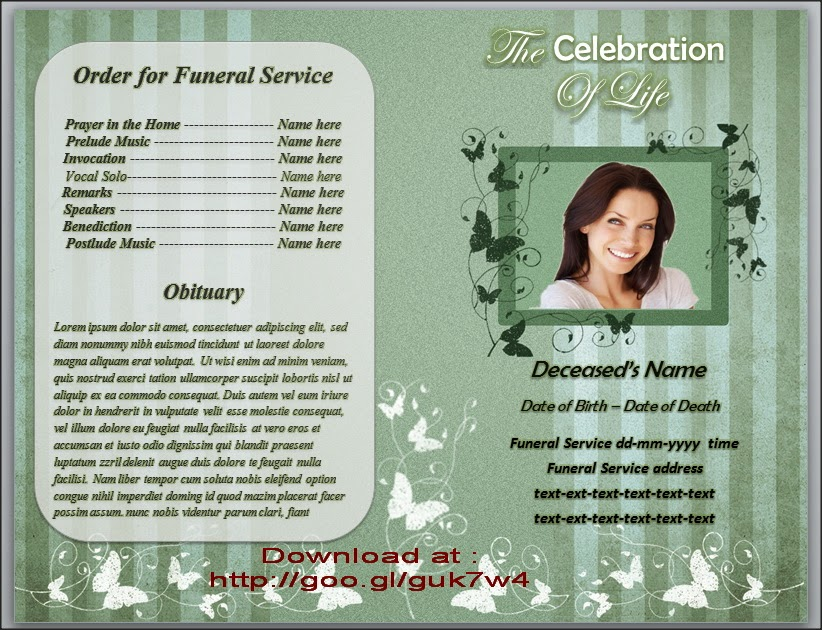 Butterfly Funeral Order of Service Program Template For Microsoft – Funeral Service Templates Word