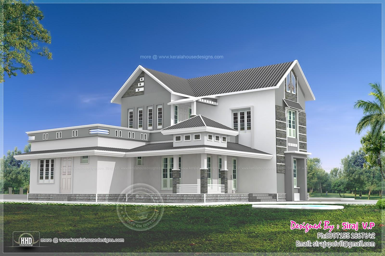 Beautiful 4 bedroom villa elevation in 2000 sq ft kerala home design and floor plans - Beautiful houses plan with bedroom ...