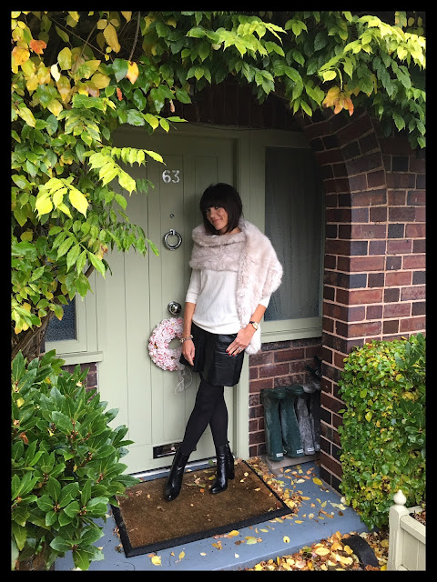 My Midlife Fashion, A line faux leather skirt, zara, gap merino loose fit jumper, block heel boots, faux fur, stole