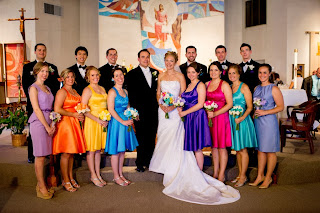 Bobbins of Basil | Bridesmaid Dresses made from scratch. Visit for more photos and details. Photo Credit: Sean Marshall Lin #Rainbow wedding color scheme