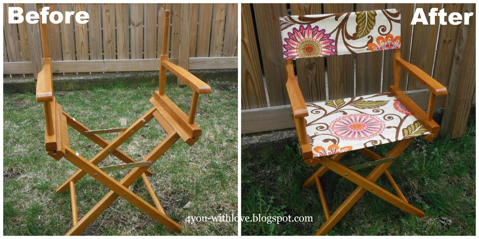 ... Amazing Directoru0027s Chair Frame For Just $3.50. So Using Just 1/2 Yard  Of U201cUrban Blossomu201d Fabric, I Was Able To Make A New Seat And Back For This  Chair.