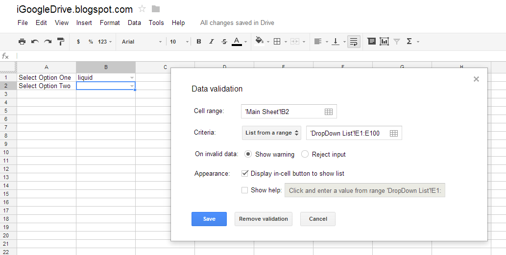 how to create drop down list in google sheets