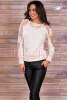 Bluza dama tricot ivoire cu broderie transparenta (MBG)
