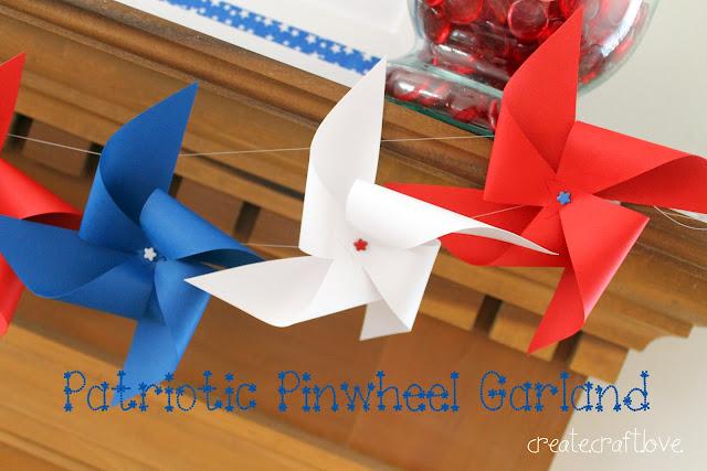 Patriotic Pinwheel Garland via createcraftlove.com #pinwheels #garland #fourthofjuly