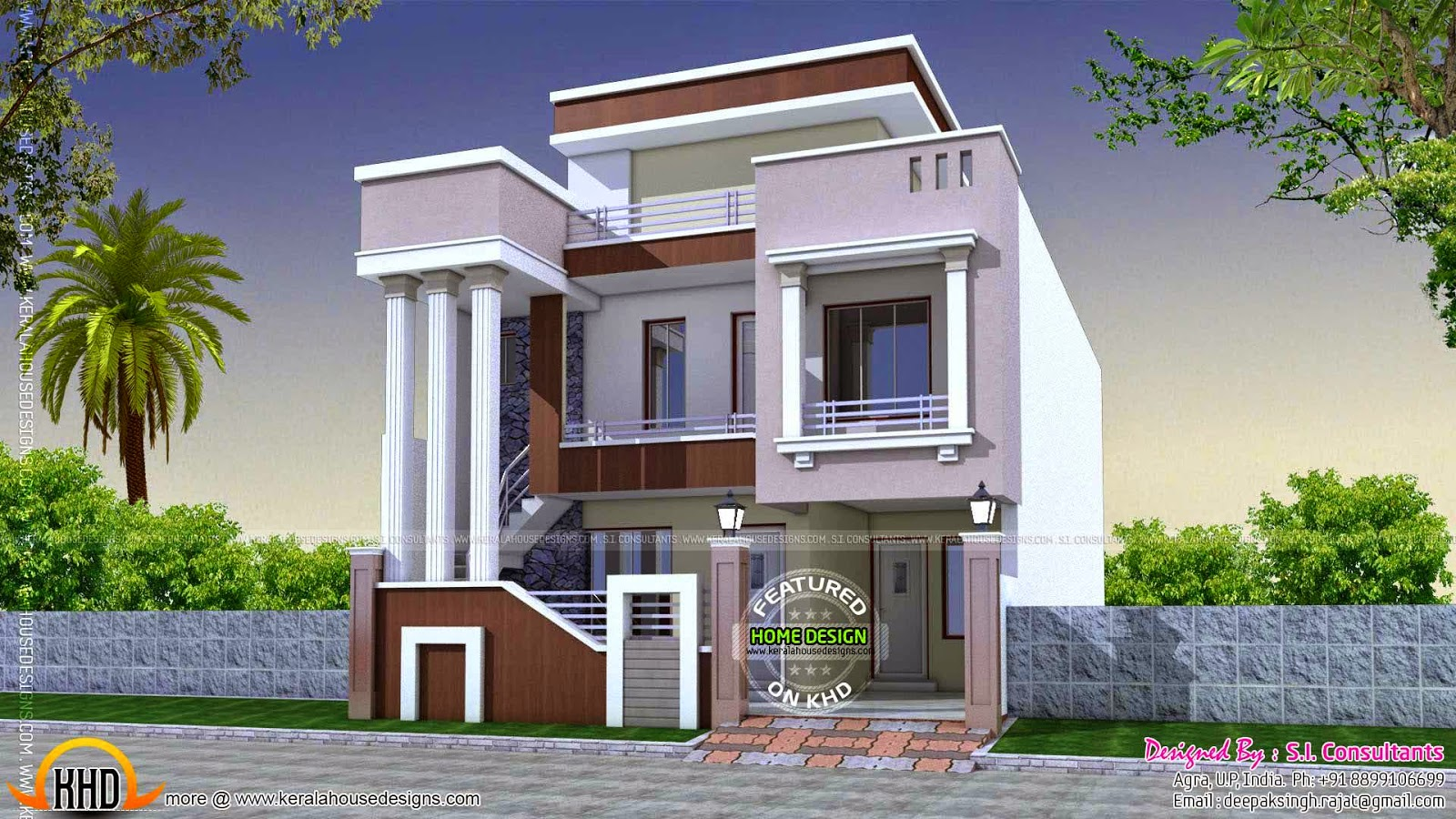 Cute modern home with long pillars kerala home design for Modern home building plans