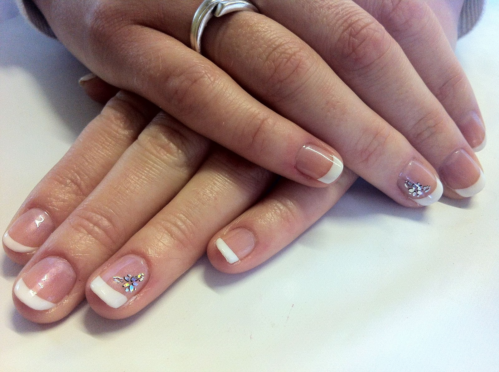 French manicure with nsm17 holographic nail sticker from viva la nails