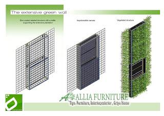 Contoh sketsa frame Green wall di dinding