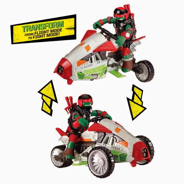 JUGUETES - LAS TORTUGAS NINJA : Mutations  Tri-Flyer   Vehículo + Figura - Muñeco Raphael   2015 Turtles Multi-Mode Mutating Machine Teenage Mutant Ninja Turtles   TMNT   Nickelodeon Producto Oficial 2015   Playmates   A partir de 4 años