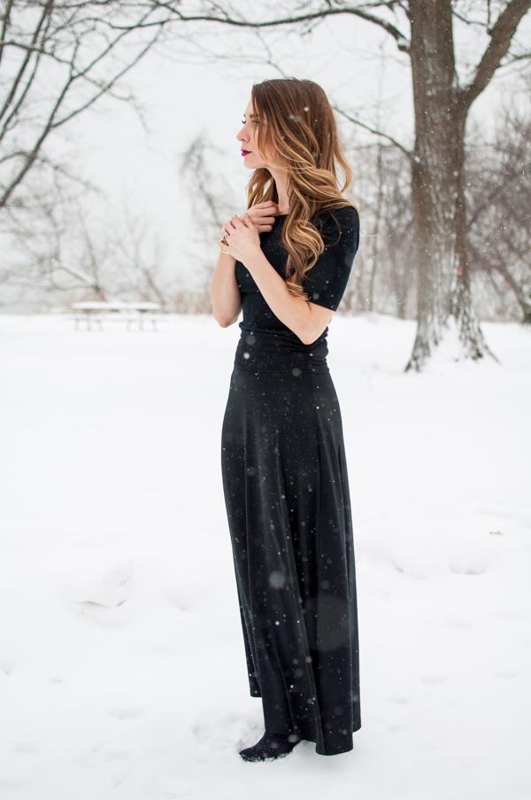 ootd black maxi skirt for winter la noob a