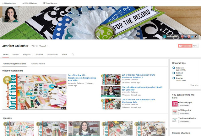 Jen Gallacher Youtube channel #scrapbooking #cardmaking: https://www.youtube.com/user/TheJenGallacher
