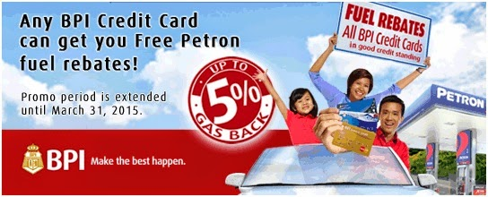 BPI Credit Card: Petron Fuel Rebates until March 31, 2015
