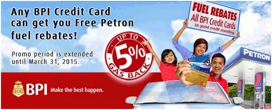 BPI Credit Card: Petron Fuel Rebates until March 31, 2015