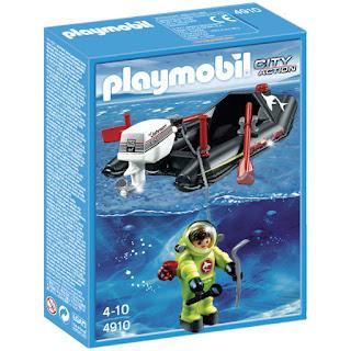 lancha con buzo de playmobil