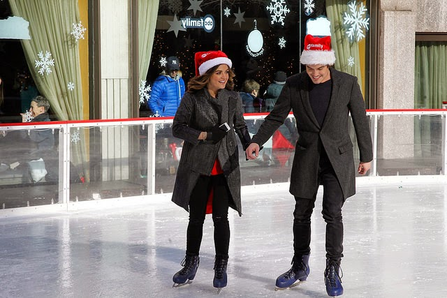 Lucy Hale and Tyler Blackburn Ice Skating Rockefeller Center New York