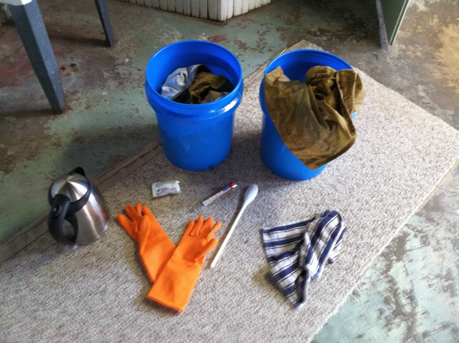 Supplies to Dye Curtains with Rit Dye