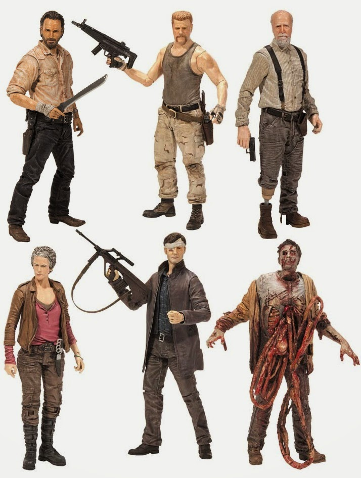 The Walking Dead Television Series 6 Action Figures by McFarlane Toys - Rick Grimes, Governor with Long Coat, Abraham Ford, Hershel Greene, Carol Peletier, Bungie Guts Zombie & Governor with Long Coat