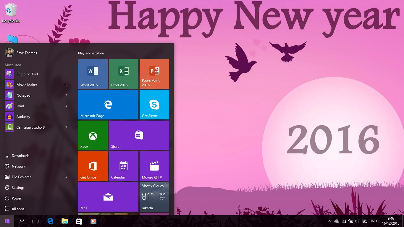 happy new year 2016 theme for windows 881 and 10