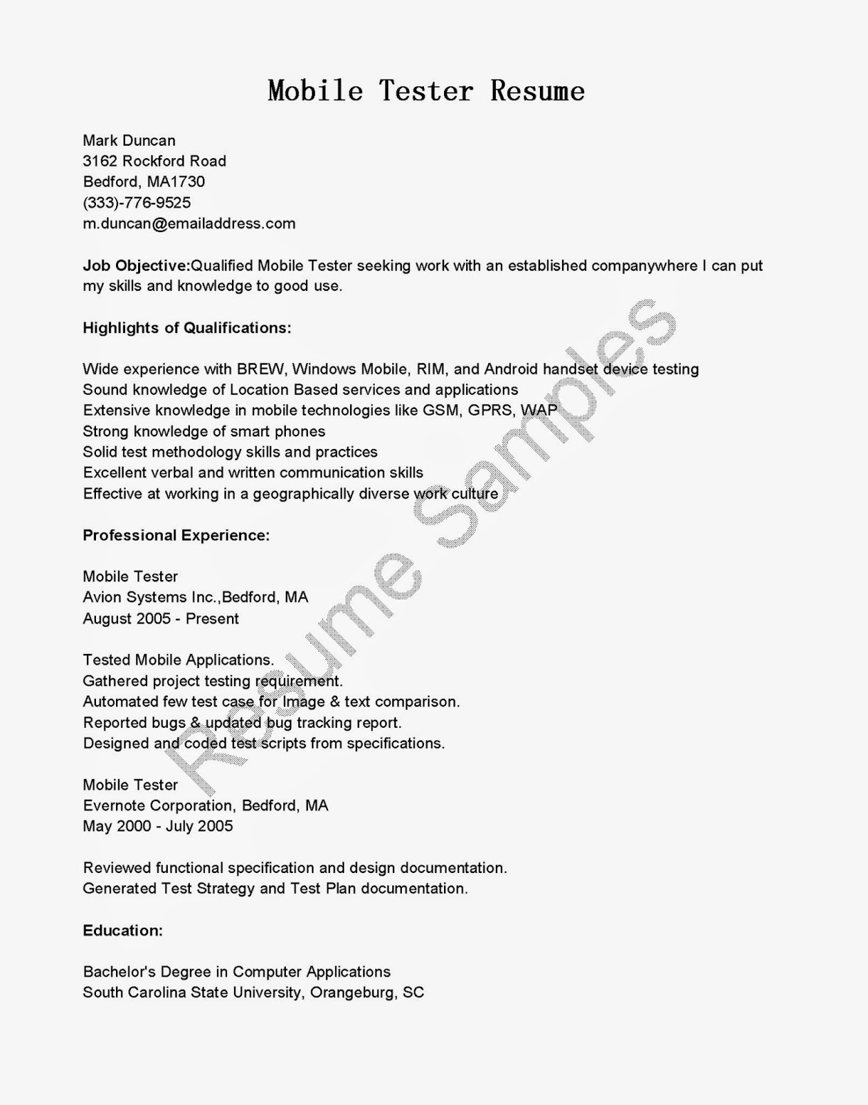 resume samples  mobile tester resume sample