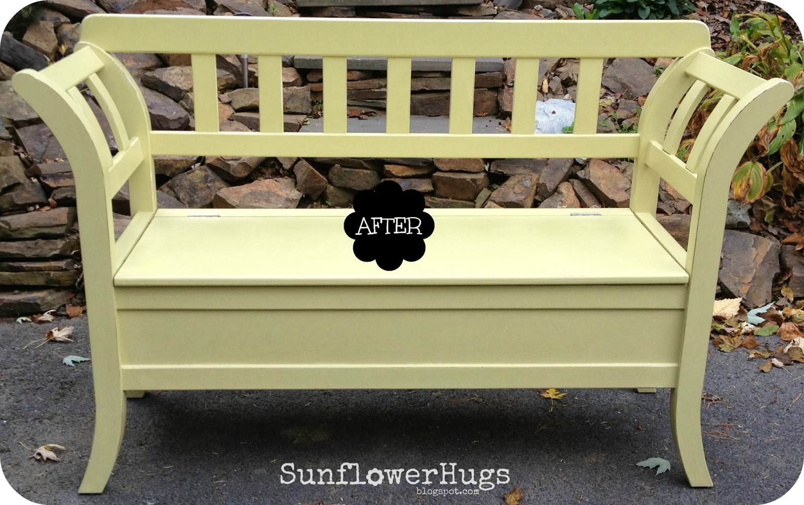 Sunflowerhugs Pretty Green Storage Bench