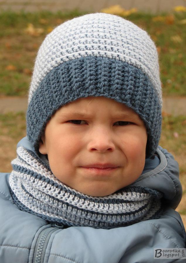 Вязаная шапка для мальчика спицами Зимняя шапка 73