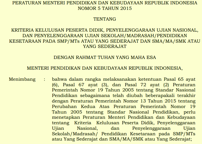 Peraturan Menteri Pendidikan Dan Kebudayaan Republik Indonesia Nomor  Tentang Kriteria Kelulusan Peserta Didik Penyelenggaraan Ujian Nasional
