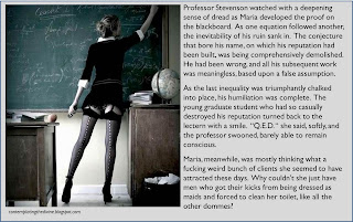Captioned image of maths proof related femdom humiliation or something like that