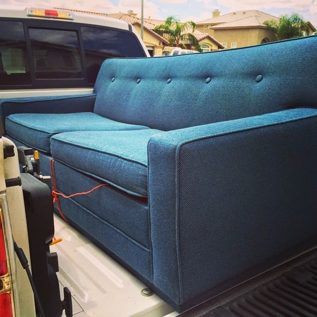 #thriftscorethursday Week 25 | Instagram user: vintagerainlove shows off this absolutely gorgeous teal mid-century sofa