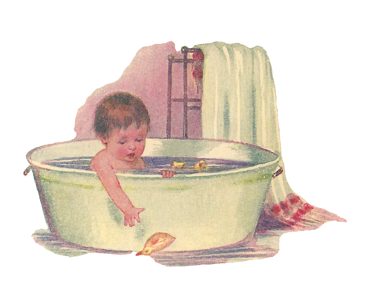 free baby clip art baby taking bath in vintage tub with rubber ducky - Vintage Tub