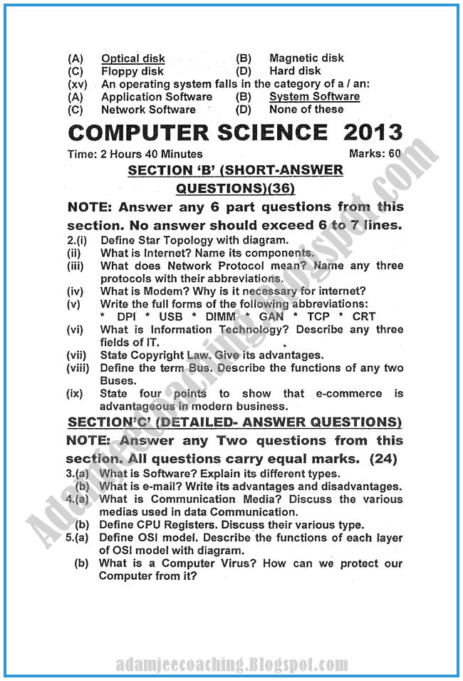 Computer-science-2013-past-year-paper-class-XI