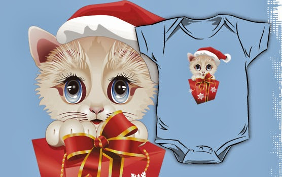 Kitten Christmas Santa with Big Red Gift Kids Clothing