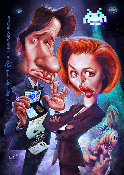 """Caricature of """"David Duchovny, Gillian Anderson and Alf"""" by Anthony Geoffroy"""
