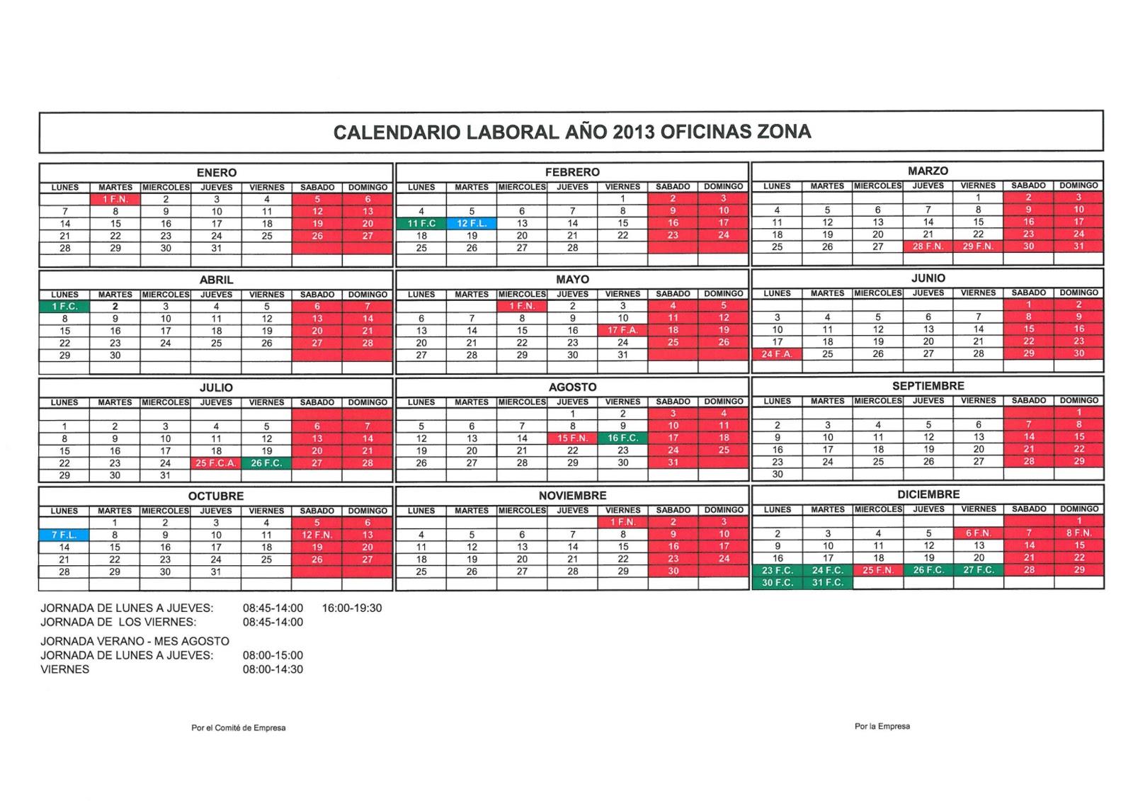 Comit acciona construcci n a coru a calendario horario for Horario oficinas bantierra