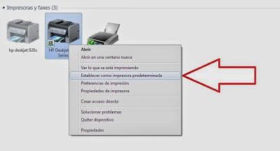 set defaut printer in windows