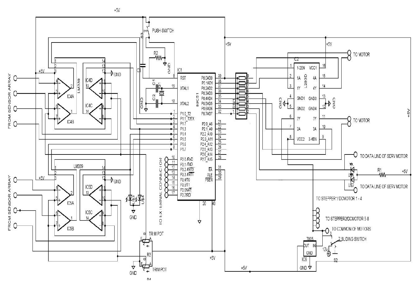 circuit dia  of line follower robot
