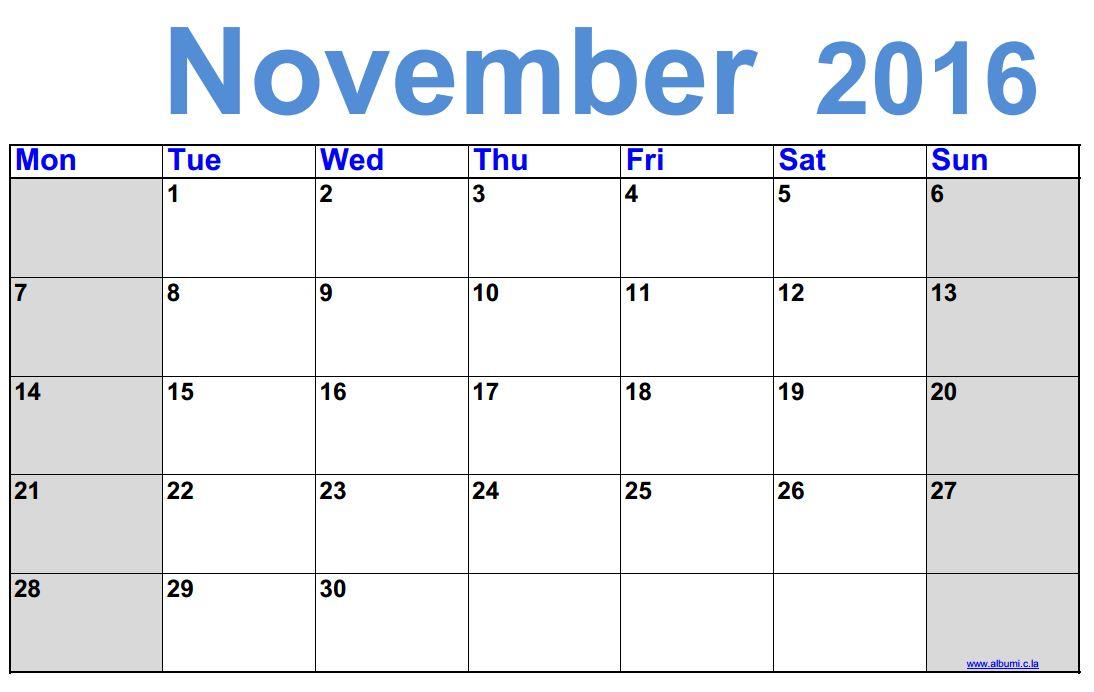 Weekly Calendar November 2016 : Free printable monthly calendar november