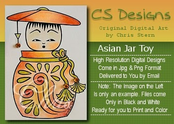 CS Designs Japanese Asian art tag