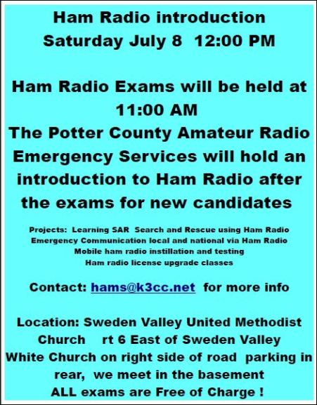 7-8 Potter County Amateur Radio Operators
