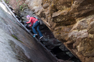 climbing out of a crevice