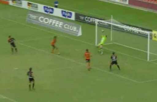 Adelaide player Iain Ramsay finishes off a blistering counter attack with a goal against Brisbane Roar